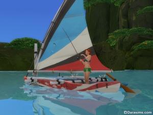 рыбалка с каноэ в Симс 4 Жизнь на острове
