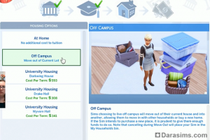 Выбор жилья Симс 4 В университете