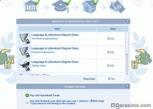 Оплата обучения в Симс 4 В университете