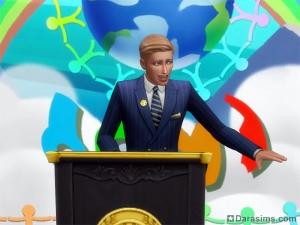 Политик произносит речь на работе