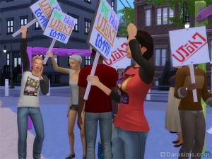 Пикет или митинг в Симс 4