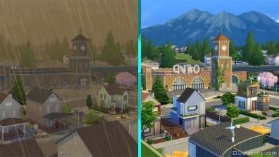 Эвергрин-Харбор до и после в «The Sims 4 Экологичная Жизнь»