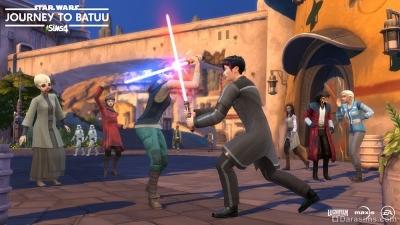 Дуэль на световых мечах в Симс 4 Star Wars Путешествие на Батуу