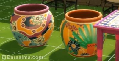 Декоративные горшки из латиноамериканского патча Симс 4