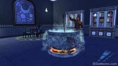 Котел для зельеварения в штабе чародеев в Симс 4 Мир магии
