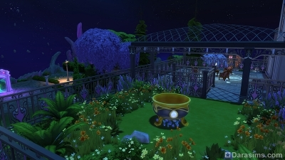 Зеленая терраса в штабе чародеев в Симс 4 Мир магии