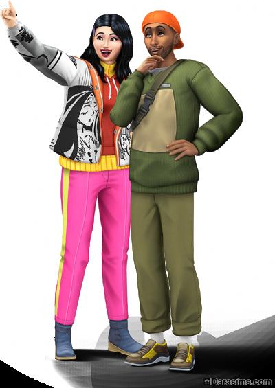 Рендер с хайкерами в The Sims 4 Снежные просторы