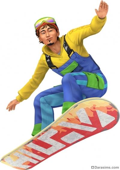 Рендер со сноубордистом в The Sims 4 Снежные просторы