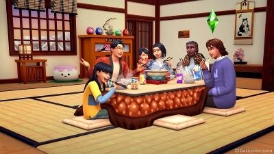 Совместная трапеза за столом котацу в The Sims 4 Снежные просторы