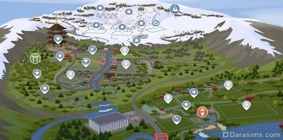 Карта города гора Комореби из Симс 4 Снежные просторы