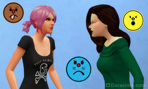 Чувства в отношениях персонажей в The Sims 4 и дополнениях