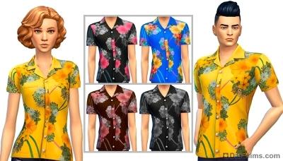 Цветочные рубашки унисекс из каталога симс 4 вечер боулинга