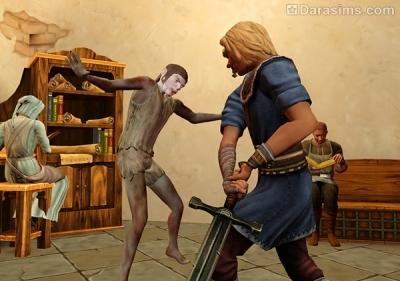 Рыцарь убивает существо