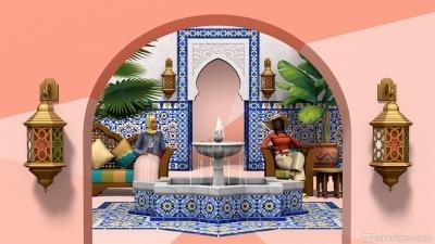 Отдых у фонтана в комплекте Симс 4 Личный оазис
