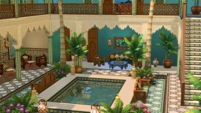 Внутренний дворик с бассейном в комплекте Симс 4 Личный оазис