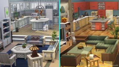 До и после работы дизайнера в игровом наборе «The Sims 4 Интерьер мечты»
