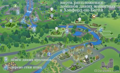 Карта домиков кроликов и птиц в Симс 4 Загородная жизнь