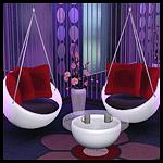 Подвесные овальные кресла + кофейный столик