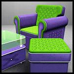 Набор кресло + пуфик + кофейный столик