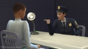 Полицейский допрашивает задержанного в Симс 4