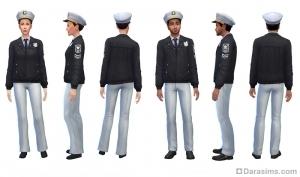 Форма начальника полиции в «Симс 4 На работу!»