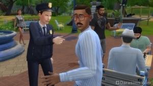 Полицейский арестовывает подозреваемого в Симс 4