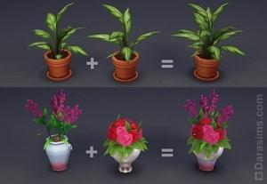 комбинирование ваз и цветов