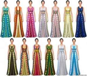 длинное платье с поясом