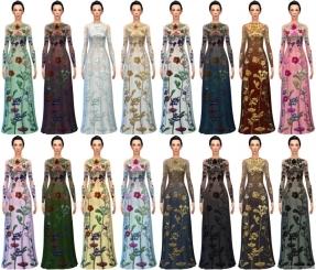 длинное платье с цветочным узором