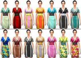 Короткое платье-кимоно