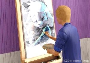 Персонаж рисует новую дефолтную картину